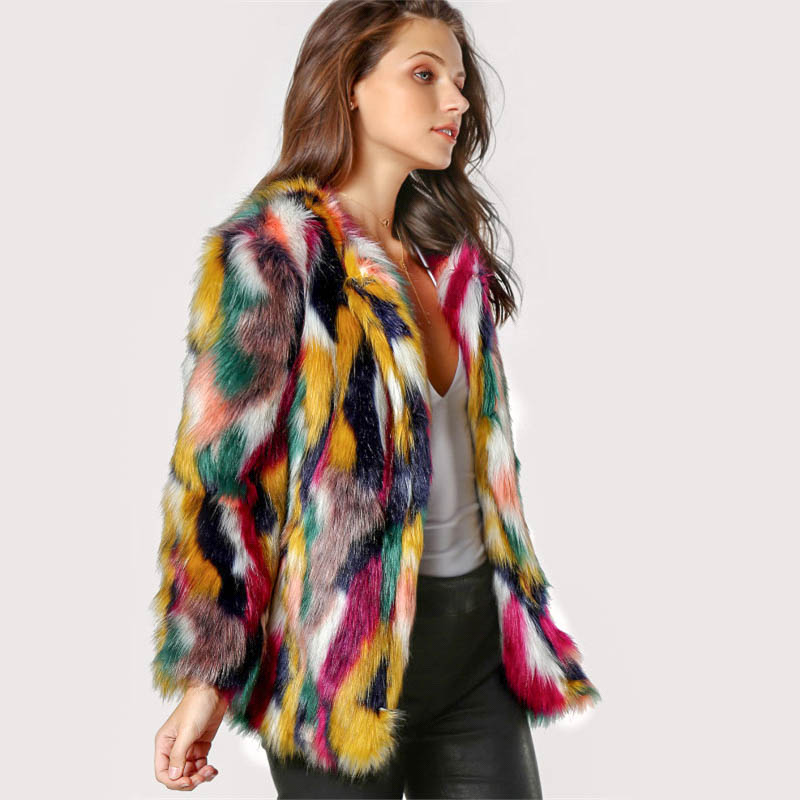 Faux Fur Cuff Sweater Acrylic Multicolor: Multicolor Faux Fur Coat